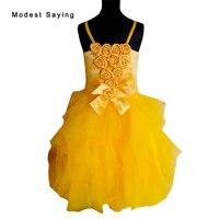 Lindo vestido de Baile Amarelo Rosette Straps Pageant Flower Girl Vestidos 2017 Meninas Na Altura Do Joelho Partido Prom Vestidos vestido daminha F20