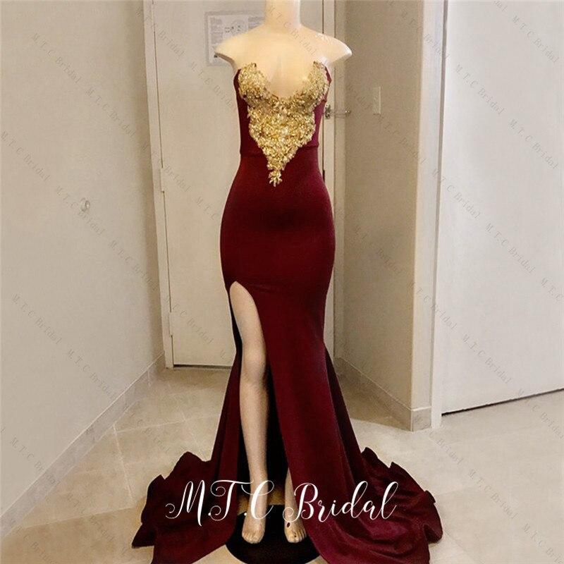 Nouveau 2019 bourgogne robe de sirène soirée col en V or dentelle côté fente élastique Satin longues robes formelles vente chaude robes de soirée