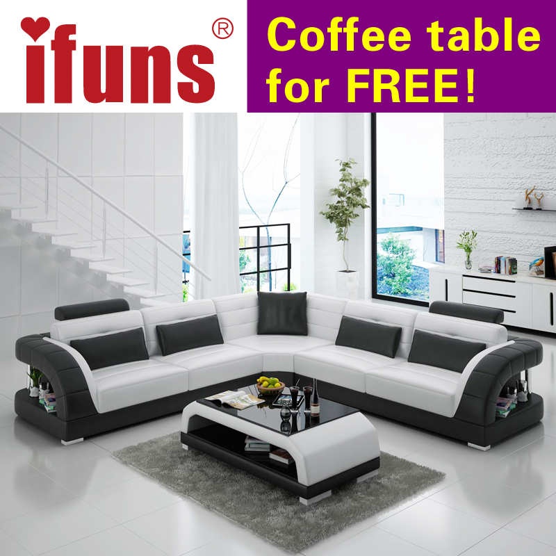 Ifuns China Export Modern Design L Shape Sectional Sofa Set Living Room Furniture Corner Chaise Top Grain Italian Leather Fr
