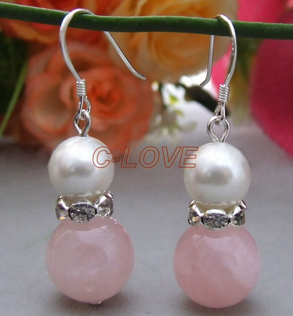 Rose Quartz&Sea Shell Pearl Earrings-925 Silver Hook   free shippment