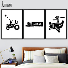 ATTRAYANT Airplane Tractors Car Canvas Painting Black And White Poster Nordic Posters And Prints Wall Pictures For Bedroom Decor