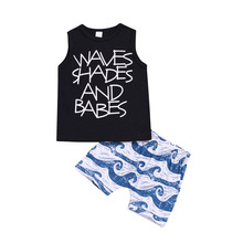 Popular childrens clothes set baby child boy girl clothing shirt T-shirt vest shorts suit