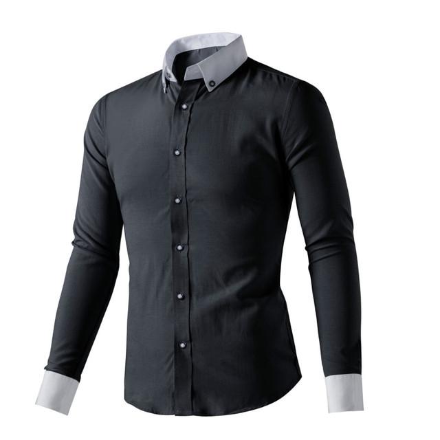 Los Nuevos hombres Camisa de manga larga Delgado Sólido Vestido Ocasional Camisa Camisa de Vestir de Los Hombres de Alta Calidad De Hierro Vestido de noche Camisa MY267