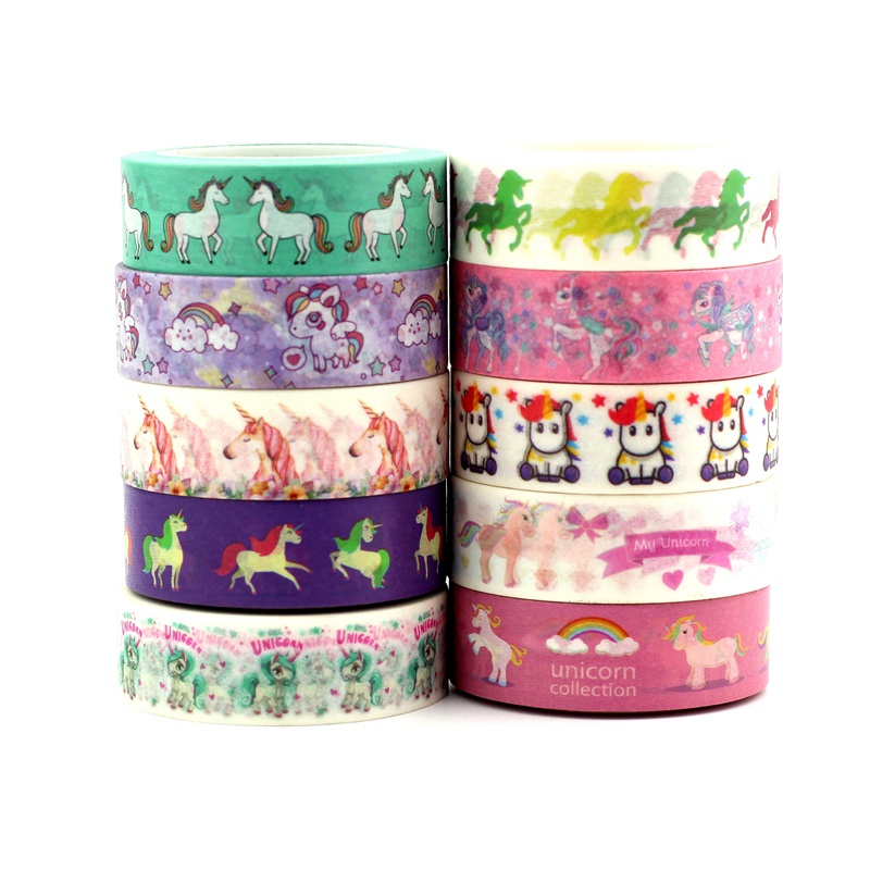1pc Masking Washi Tape Paper Collection Unicorn Corgi Cat For DIY Crafts, Scrapbooking, Bullet Journal, Planner, Gift Wrapping