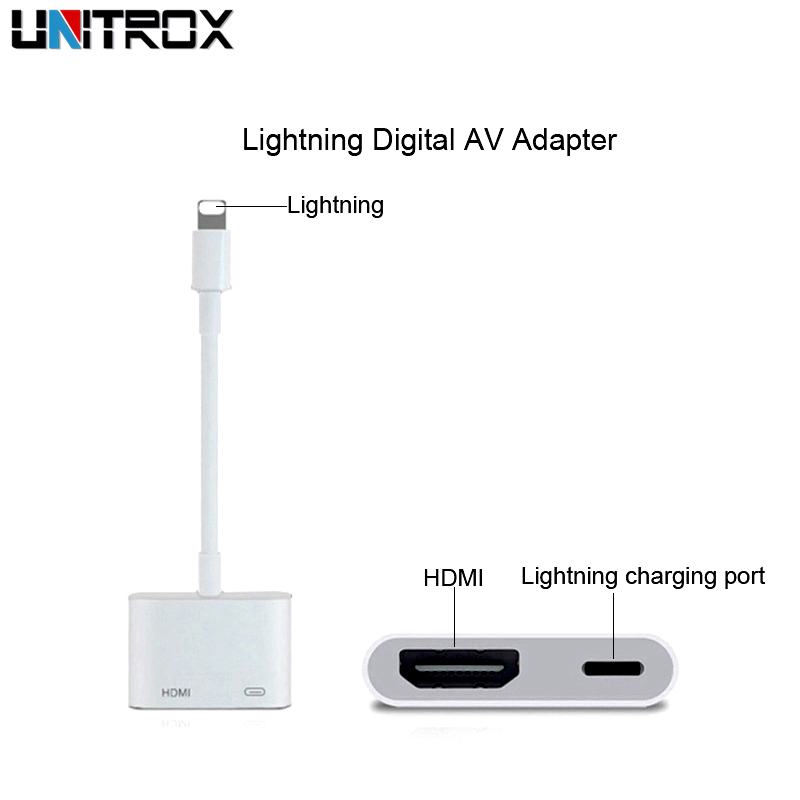 For Lightning Digital AV Adapter with Light-ning Charging Port for HD TV Monitor Projector 1080P for iPhone/iPad/Pod/iOS 11-12.1