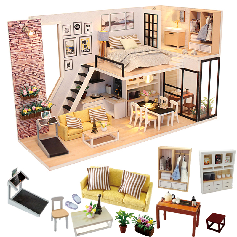 Cutebee Doll House Furniture Miniature Dollhouse DIY Miniature House Room Box Theatre Toys For Children Casa DIY Dollhouse P