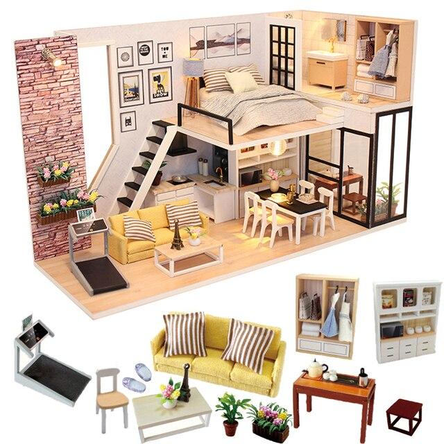 Cutebee أثاث بيت الدمية دمية مصغرة لتقوم بها بنفسك صندوق غرفة منزل مصغر مسرح لعب للأطفال Casa لتقوم بها بنفسك دمية P