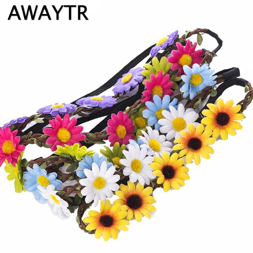 Flower Bohemia Headband Hair Accessories Jewelry Women Beach Flower Hair Bands Headband for Girls Elastic Flower Crown Headband shanfu women zebra stripe sinamay fascinator feather headband fashion lady hair accessories blue sfc12441