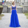 Royal Blue Tulle Prom Vestidos Longos Partido Vestido Boat Neck Lace Applqiue Frisada V Zipper Voltar Chão