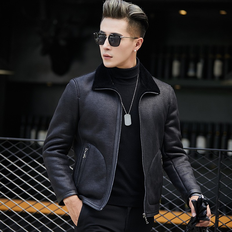 Chaqueta Cuero Hombre Motorcycle Biker Winter Warm Fur Lining Jacket Genuine Leather Coat Slim Fit Office Casual Bomber Jacket