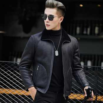 Chaqueta Cuero Hombre Motorcycle Biker Winter Warm Fur Lining Jacket Genuine Leather Coat Slim Fit Office Casual Bomber Jacket - DISCOUNT ITEM  47% OFF All Category