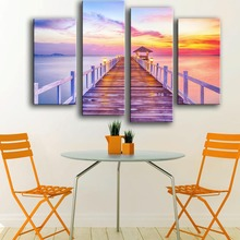 2017 Promotion Modern Canvas No New Product Print Painting Wall 4pc/set Sunse Sea Sunset Landscape Art Picture For Living Room