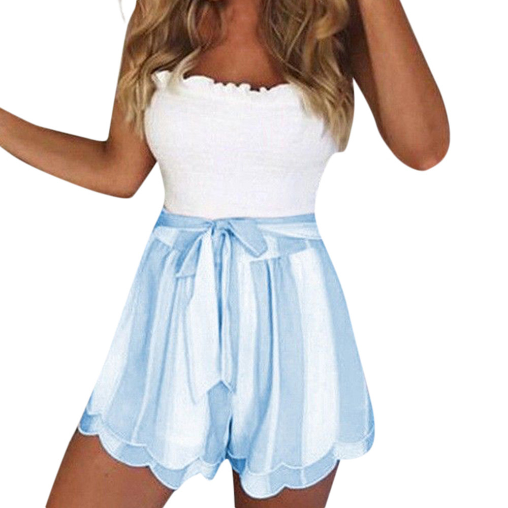 New Women's   shorts   summer   shorts   Polyester Loose Bow Casual Women Ladies Casual Printing Striped Petal Double Layer