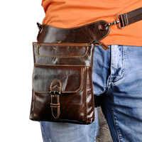 Men Oil Wax Leather First layer Cowhide Vintage Waist Leg Bag Fanny Pack Cross Body Messenger Shoulder Travel Riding