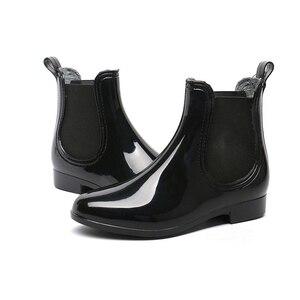 Image 5 - אישה גשם מגפי 2019 אביב סתיו עמיד למים קרסול אתחול לנשים נעליים נמוך העקב גשם מגפי החלקה גבירותיי נעליים בתוספת גודל 43