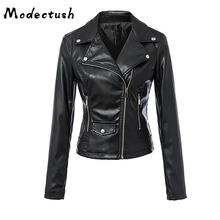 Modecrush Black PU Leather Jacket Woman 2019 Autumn Spring Outerwear Womens Motorcycle Ladies Jackets and Coats Winter