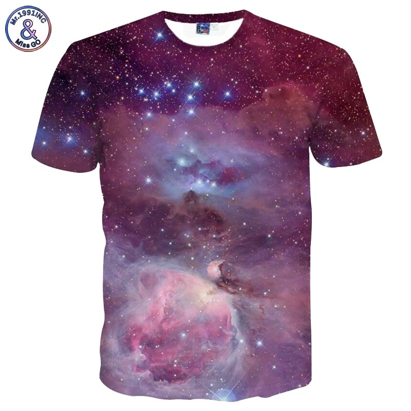 Mr.1991INC Space Galaxy 3d T-shirt Men/Women Summer Tops Tees Print Stars Purple Clouds Whirlpool Tshirt Plus Size 3XL 4XL