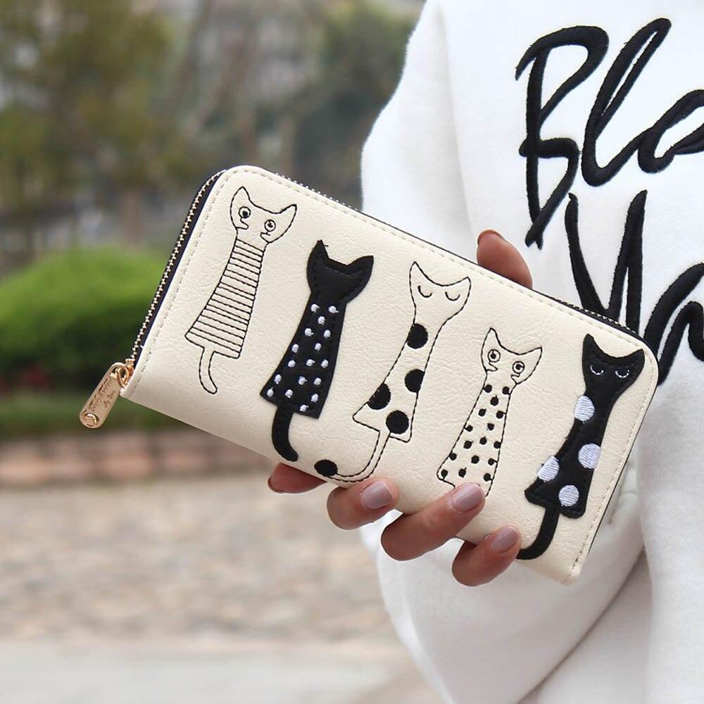 Luxury Cat Design Long Wallet White