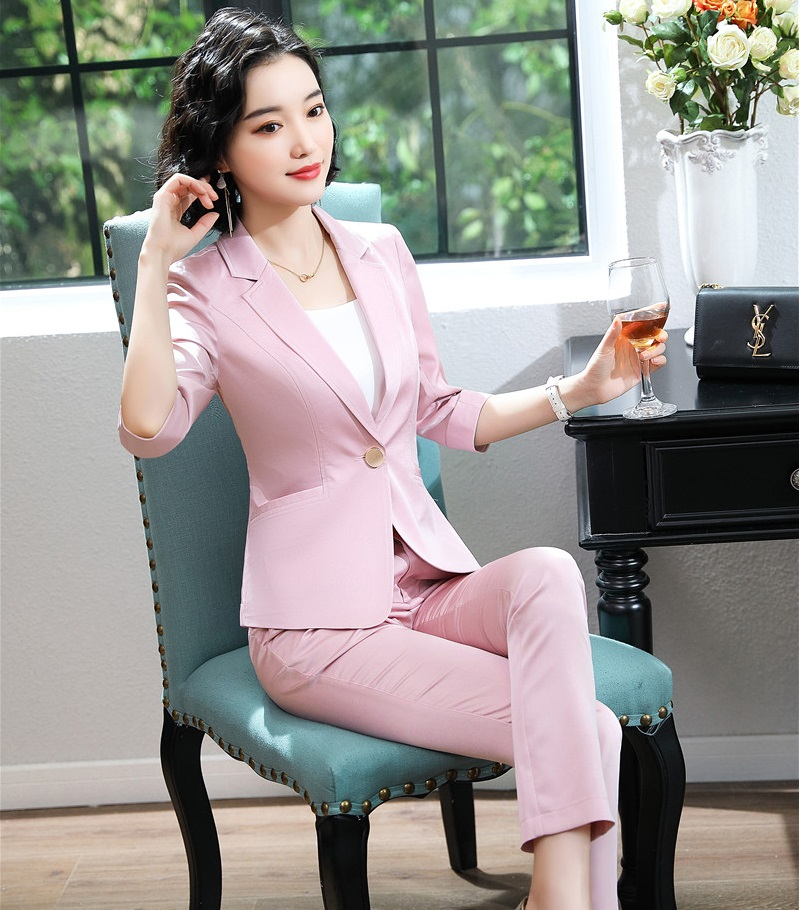 2019 New Styles Half Sleeve Spring Summer Formal Business Suits With Jackets And Pants For Ladies Office Blazers Elegant Pink