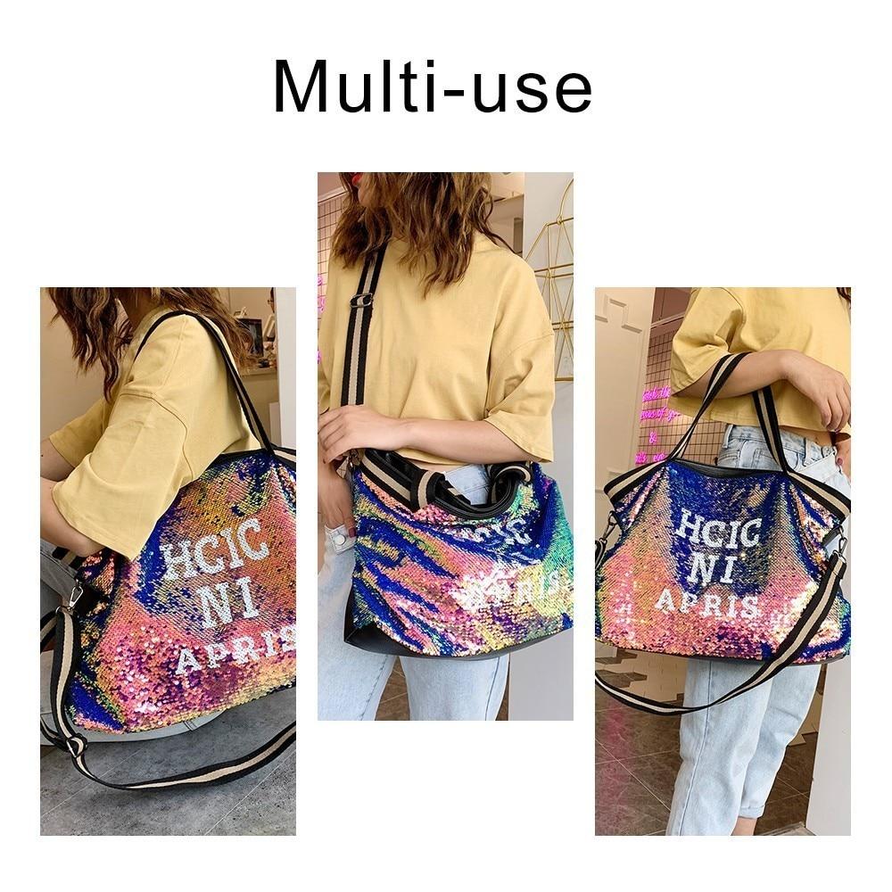 Image 2 - Herlad Fashion Large Womens Handbag Quality Leather Shiny Sequined Female Shoulder Bag Casual Letter Print Ladies Tote Bag SacShoulder Bags   -