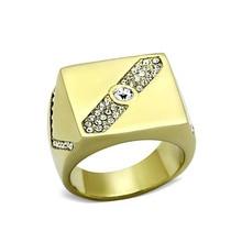 2017 anillo de oro para hombre forma cuadrada anillo de acero titanium inoxidable de acero de Grado Superior de Los Hombres Anillos de Plomo Libre de la Alergia Regalo Del Partido