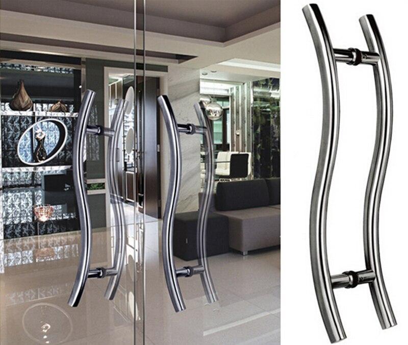 mm longitud s estilo escalera puerta manija redonda de acero pa