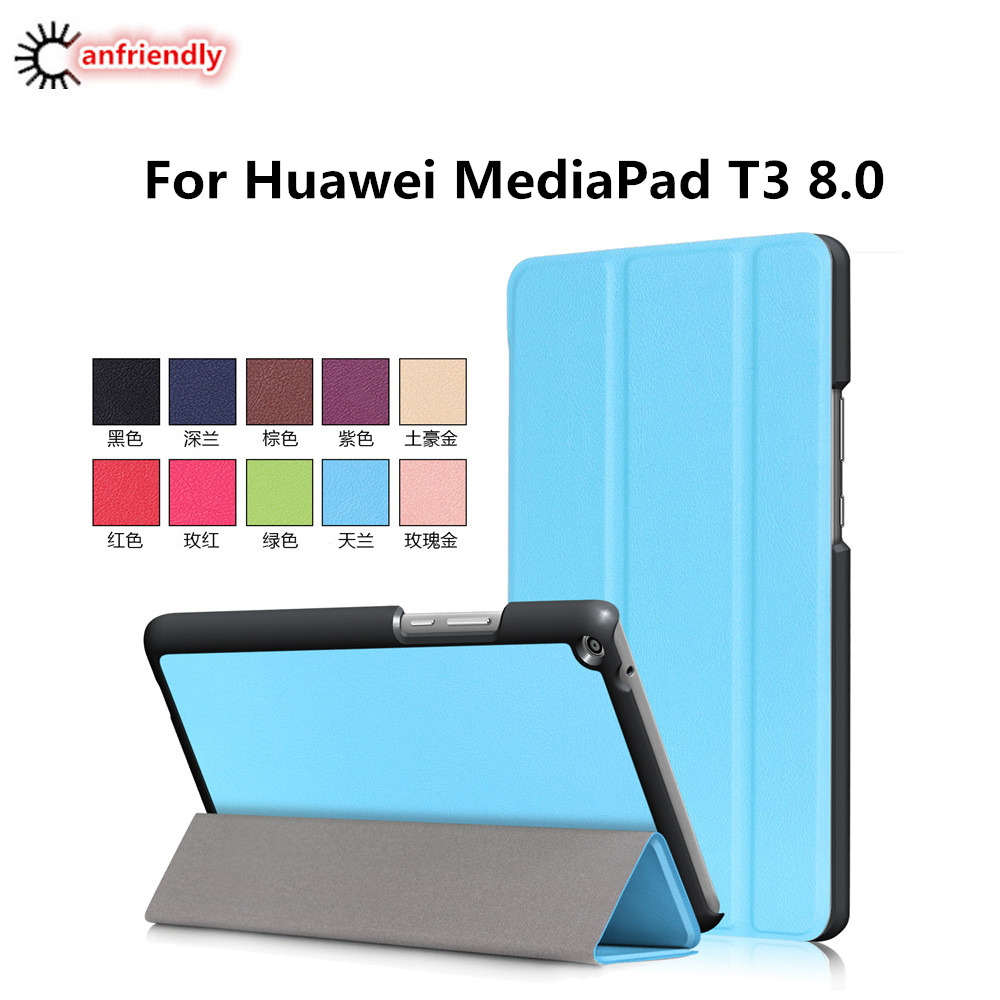 For Huawei T3 T 3 8.0 PU Leather Flip Cover Case For Huawei MediaPad T3 8.0 KOB-L09 KOB-W09 tablet case stand cover coque funda