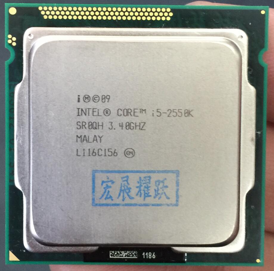 Intel Core i5-2550K  i5 2550k Processor (6M Cache,3.3GHz) LGA1155  Desktop CPU Non locking frequency doubling100% normal work wavelets processor