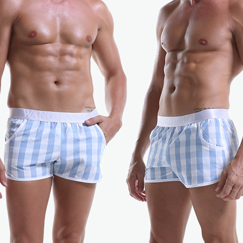 WJ 2019 Men Underpants Cotton Men Underwear Boxers Shorts Sexy Breathable Plaid Printed Men Casual Home Shorts Cueca Boxer Men