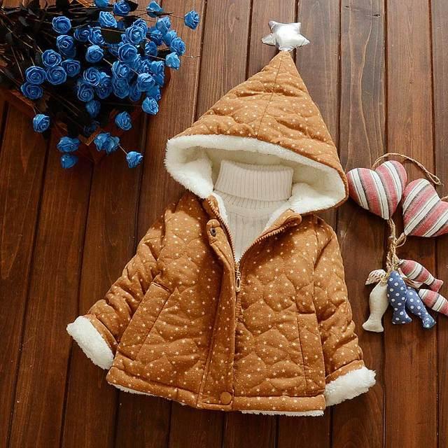 Горячие Продажи 0-3years Ребенок Вниз и Парки С Капюшоном Младенческой Руно Зимнее Пальто Новый Хлопок Утолщаются Звезда Ребенка Зимой одежда