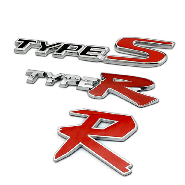 Fashion TYPR S R Logo Design Car Refit Emblem For Honda Civic Crv