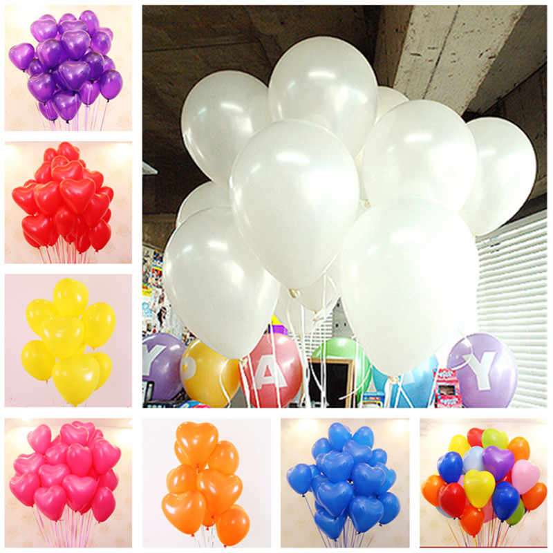 10pcs 10inch 1.5g White Red Heart Latex Balloons Wedding Decorations Balloon Happy Birthday Party Kid Inflatable Helium Air Ball