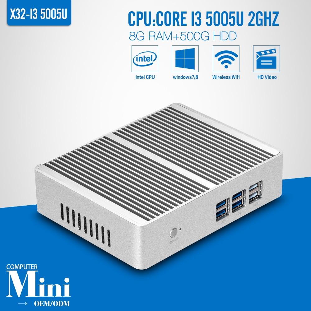 VGA + HDMI + LAN 5005U Fanless Mini PC Windows 10 Core i3 8 GB RAM 500 GB HDD WI