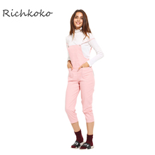RichKoKo 2017 New Overalls for Women Double Pockets Slim Preppy Jumpsuit Pink Macacao Casual High Waist Cami Strap Overalls