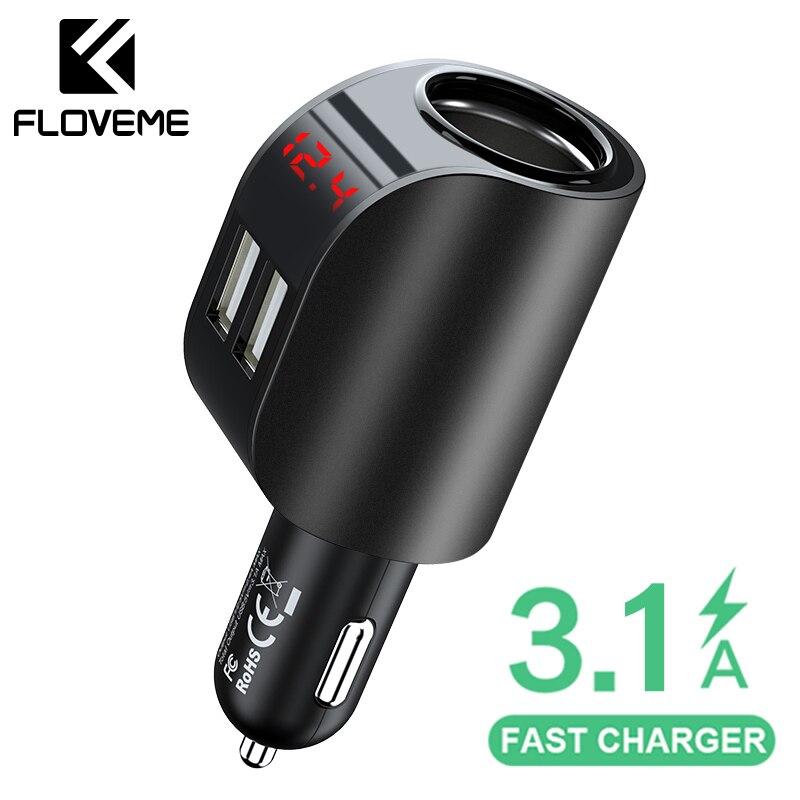 FLOVEME 3.1A USB Chargeur de voiture téléphone portable Chargeur de voiture USB Chargeur rapide Chargeur de voiture 12V pour iPhone Samsung Xiaomi