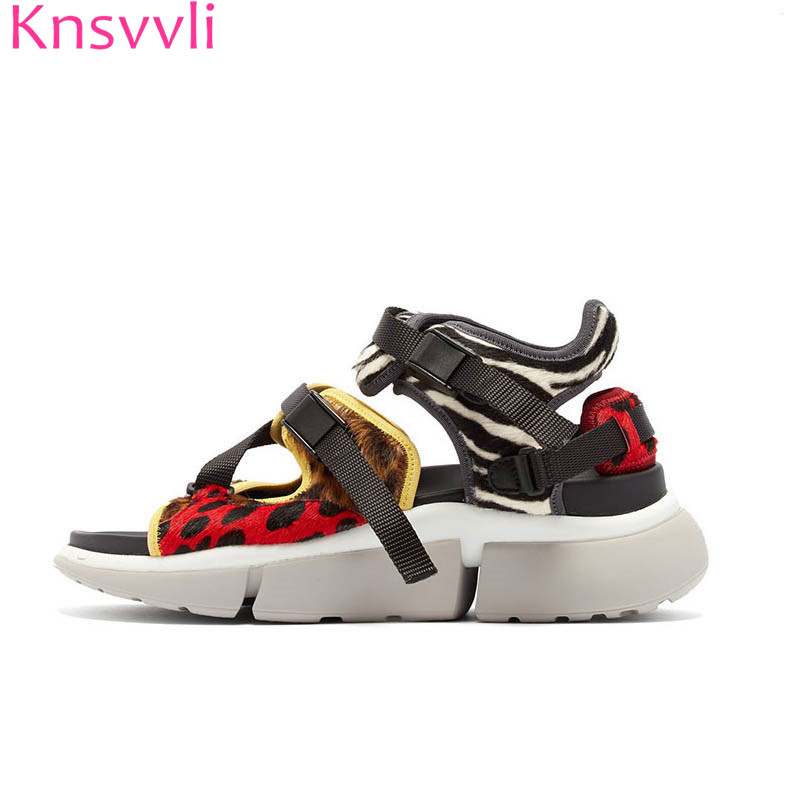 New leopard print platform sandals women cowhide patchwork mesh platform shoes woman fashion comfort mixed color zapatos mujerNew leopard print platform sandals women cowhide patchwork mesh platform shoes woman fashion comfort mixed color zapatos mujer