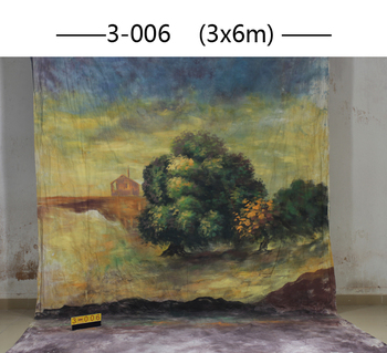 Custom 3x6M Hand Painted natural scenic tree Backdrop background,muslin photography backdrops for Family Photos,adult,kids 3006