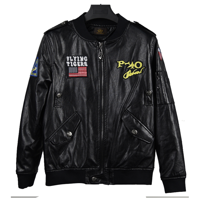 High Quality Mens PU Leather MA1 Bomber Jacket Male Flying Tigers Embroidery Air Force Flight Motorcycle Leather Jacket Coats