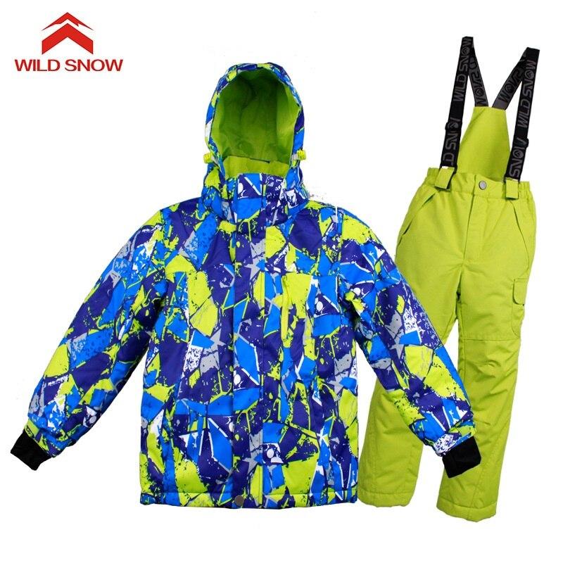 Sauvage neige nouveau enfants Ski costume imperméable coupe-vent veste de Ski et pantalon ensemble garçon filles neige vêtements enfants Snowboard Ski costumes - 4