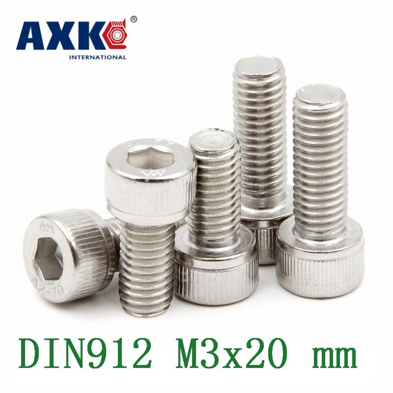 100pcs//Lot Metric Thread DIN912 M3x50 mm M3x50 mm 304 Stainless Steel Hex Socket Head Cap Screw Bolts