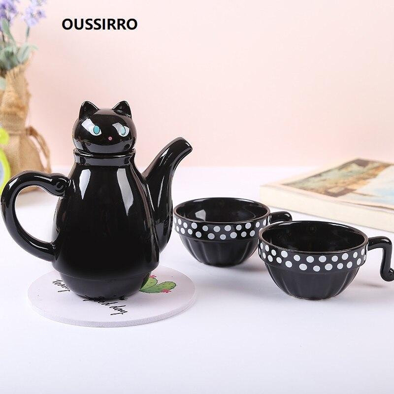 OUSSIRRO Ceramic Tea Set Teapot Teacup Set Cat Simple Tea Set Stainless Steel Filter Lovely Gift Drinkware W3021