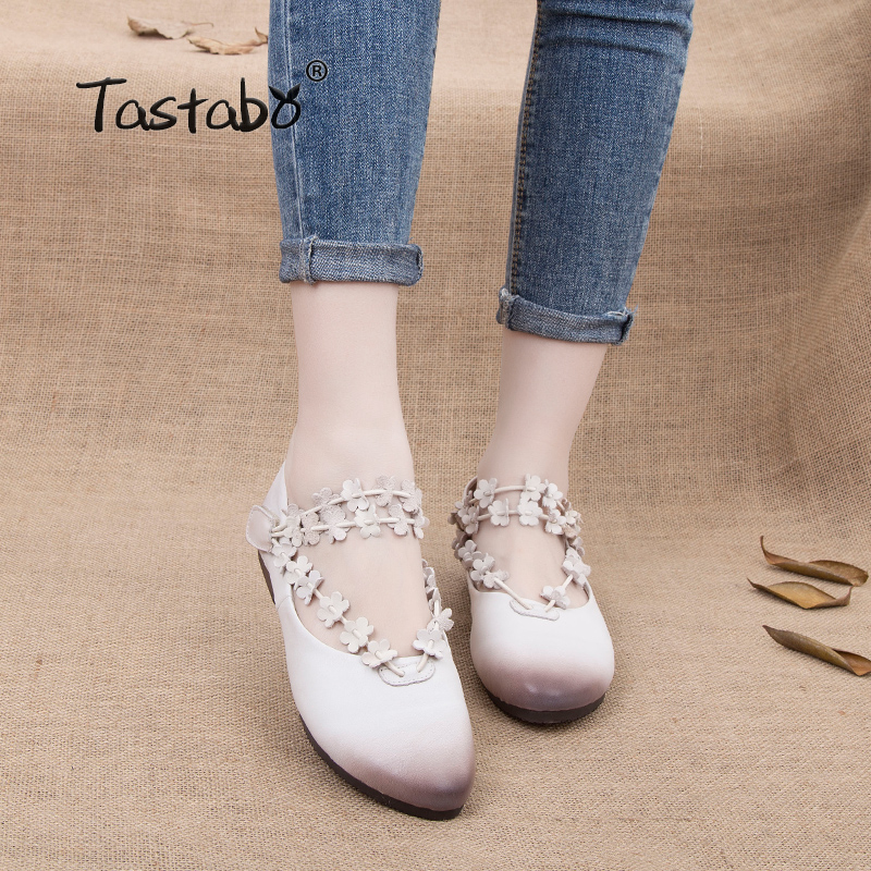 цена на Tastabo Fashion Woman Genuine Leather Flat Shoes Loafers Female Casual Shoes Non-slip Pregnant Women Flats Shoes 2018