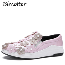 Bimolter 2018 New Fashion Casual Boat Flats Women Flower Bling Pearl Loafers Round Toe Luxury Shoes Leisure Footwears PFEA025