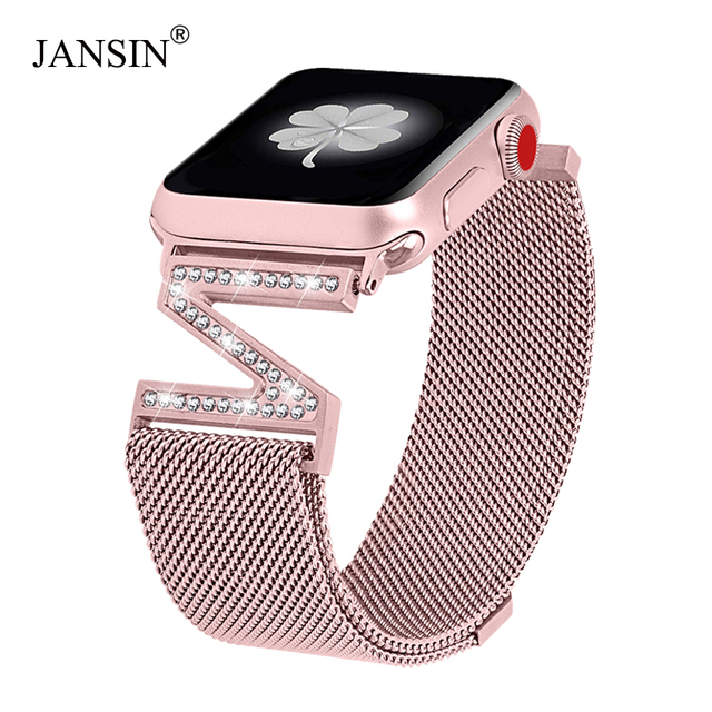 Pulsera Milanese Loop pulsera de diamantes correa de reloj Apple Watch banda 38mm 42mm 40mm 44mm Watch serie 1 /2/3/4 correa de acero inoxidable para mujer