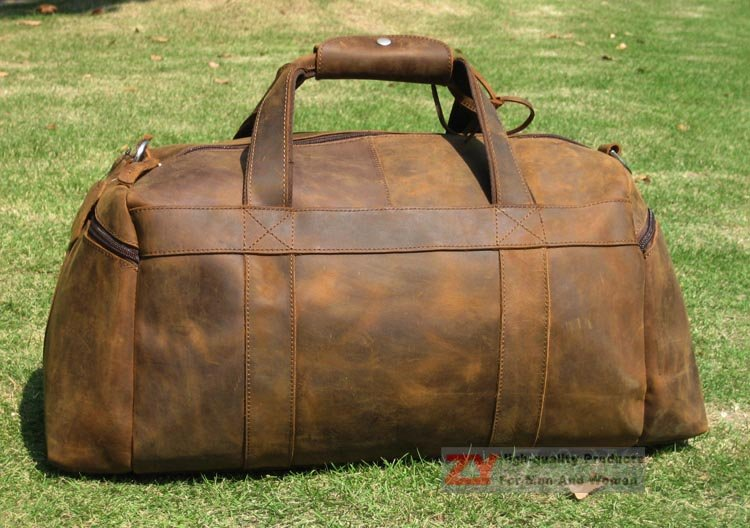 Vintage Full Grain Leather Men s Women s Travel bag Luggag Duffle suitcases  Overnight Carry Ons New-in Travel Bags from Luggage   Bags on  Aliexpress.com ... 708d2d2fd688c