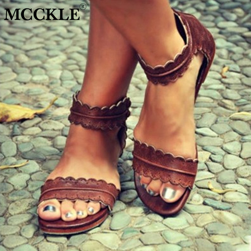 MCCKLE Women Summer Casual Plus Size Flat Sandals Female Sewing Hollow Cover Heel Zipper Shoes Woman Comfortable Shoe Sandal new summer sandal high heel women thick bottom female sandals casual shoes fashion leather sandal comfortable sweet cute woman