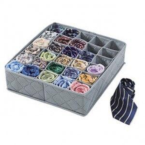 Image 1 - Organizer Portable 30 Grid Foldable Storage Box For Home Gadget Non woven Storage Bra Underwear Socks Finishing Box Organizador