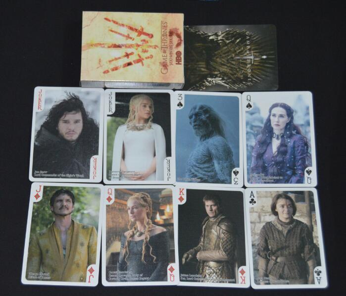 2 tipos Juego de tronos juego de póquer tarjeta etapa foto canción de fuego y hielo naipes novedad productos póquer establece presente