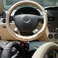 Personalized Perforated breathable genuine leather steering wheel cover on the car --black with red line 38cm XRZ219