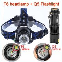 LED Headlight T6 3800LM head lamp zoom 18650 Head lights headlamps & Q5 Mini flashlight 2000lm zoomable frontale